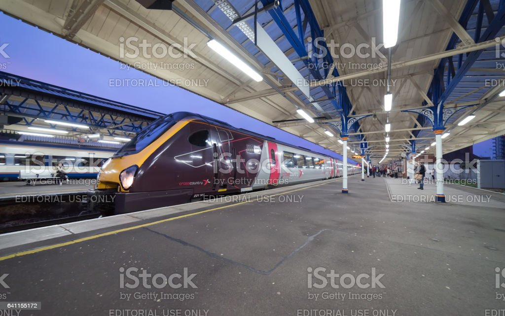 Crosscountry train at Basingstoke station stock photo