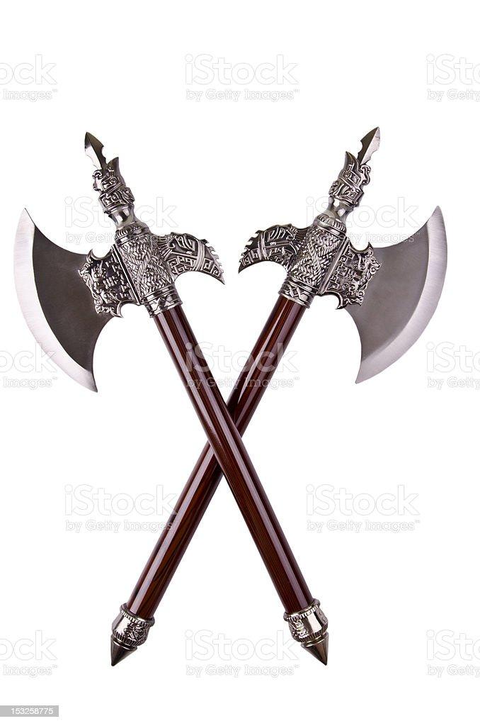 Crossed axes stock photo