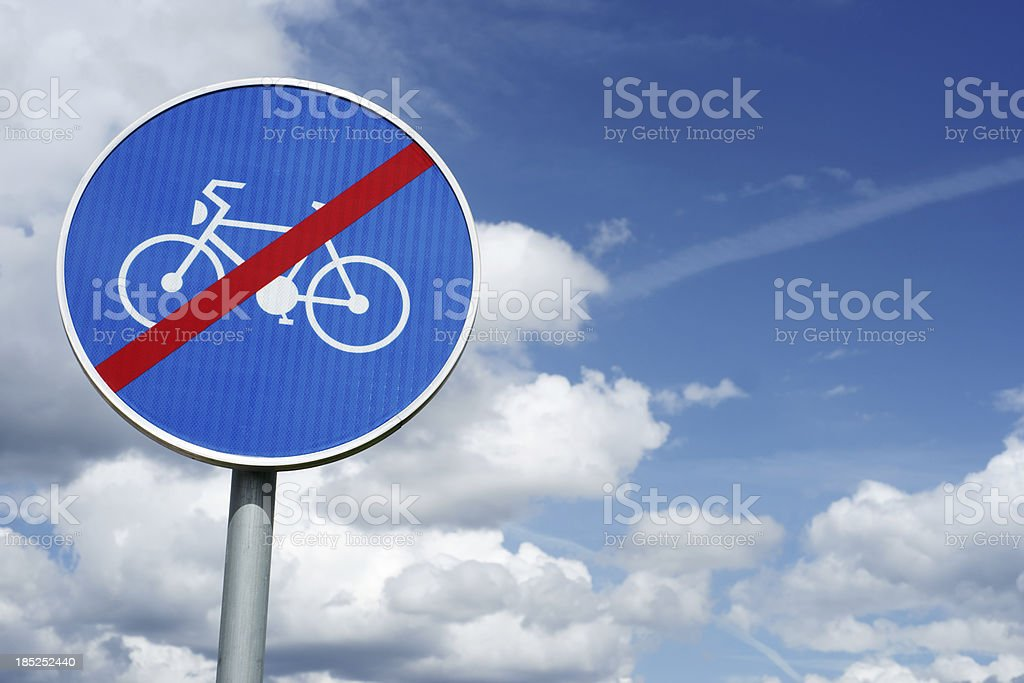Crossed bicycle traffic sign with copy space royalty-free stock photo