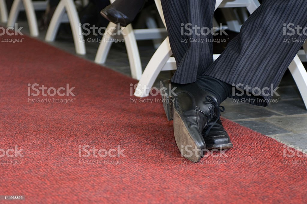 Crossed dress shoes royalty-free stock photo