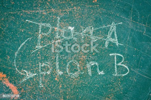 istock Crossed out plan A inscription, arrow and plan B instead 802573718