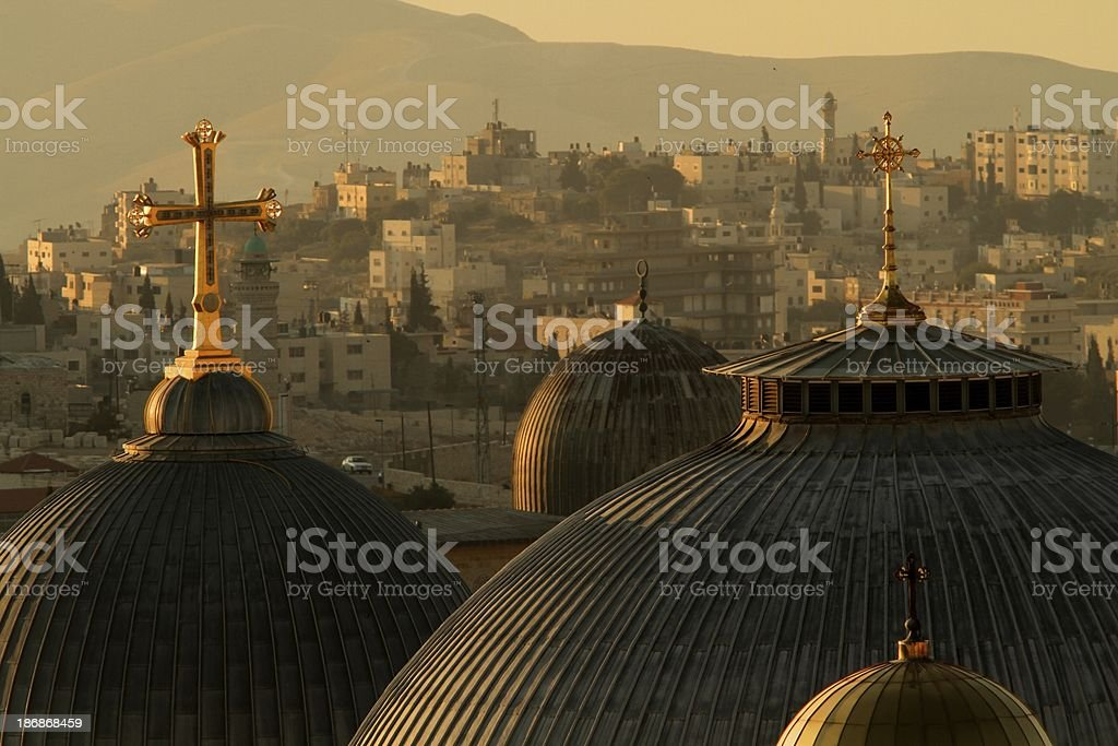 Crosses and Domes in the Holy City of Jerusalem stock photo