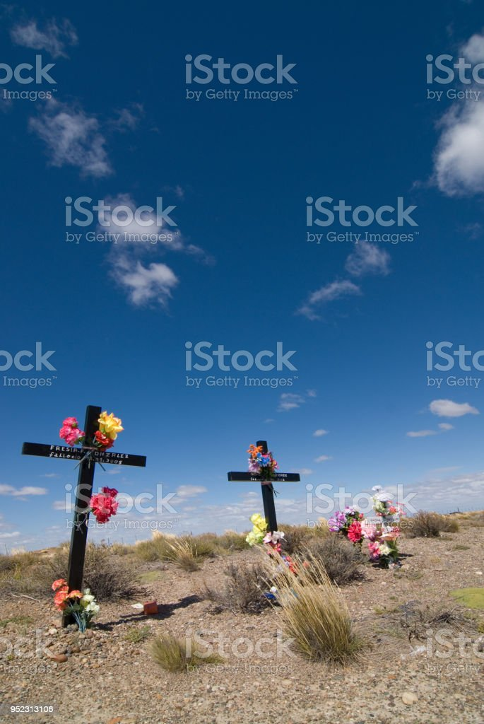 Crosses Aside Road In Patagonia Stock Photo More Pictures Of