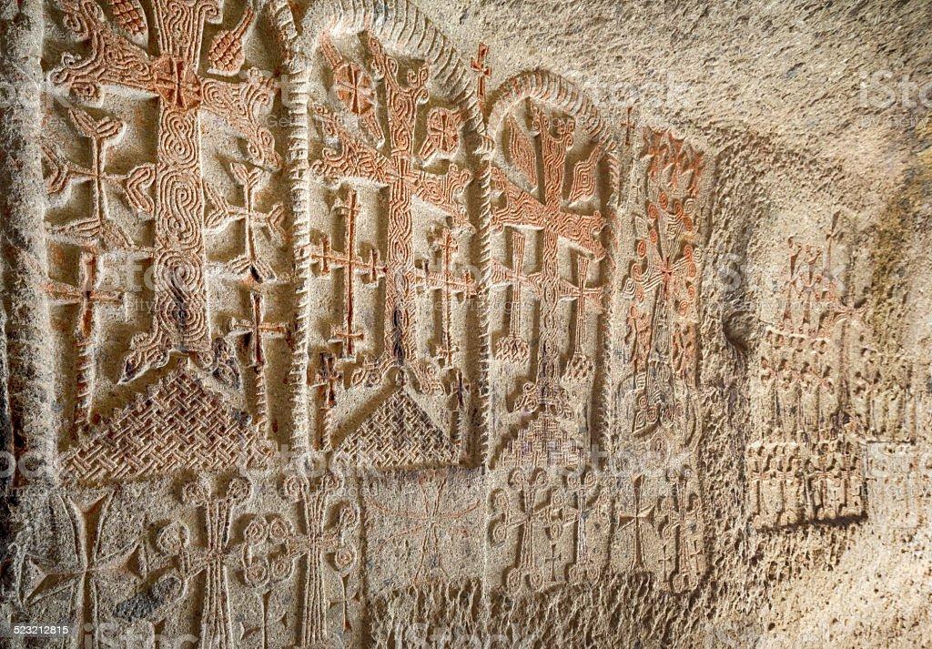 Crosses Engraved on the Wall of Geghard Monastery, Armenia stock photo