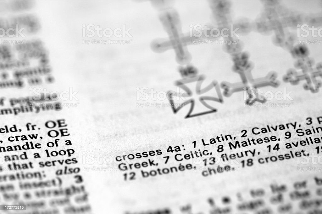 Crosses illustrated in the Dictionary royalty-free stock photo