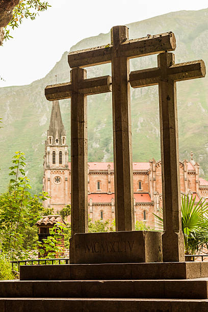 Crosses in the holy cave and secondly, Basilica in Covadonga - foto de stock