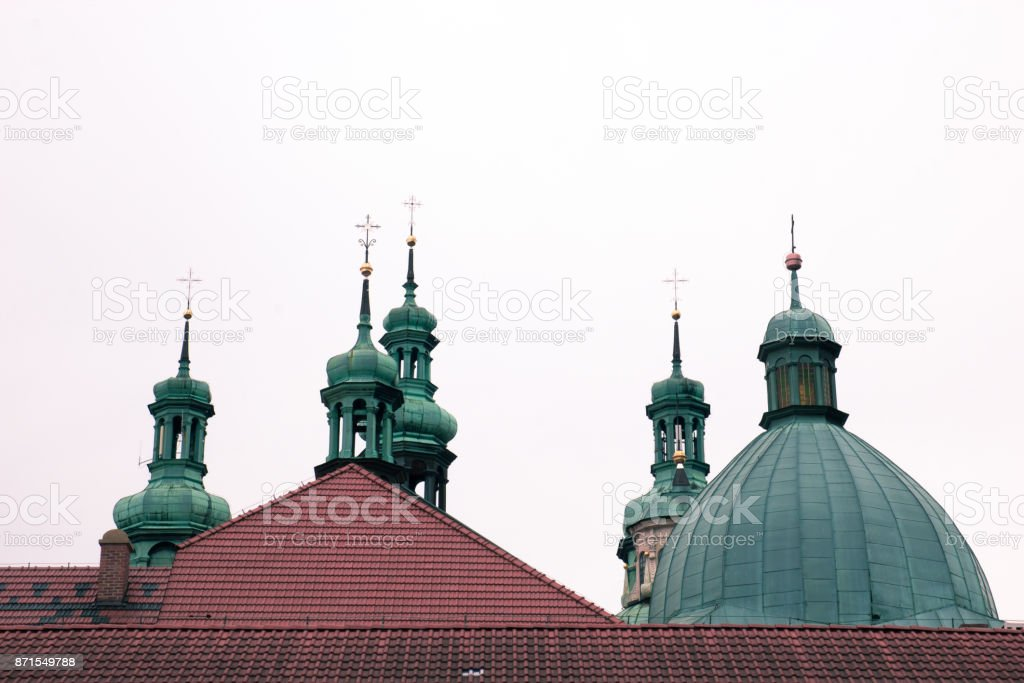 Crosses on the domes of the cathedral stock photo
