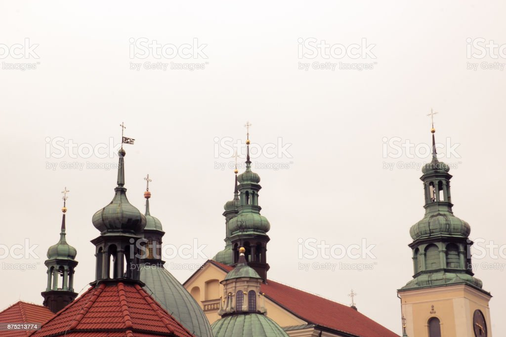 Crosses on the domes of the church stock photo