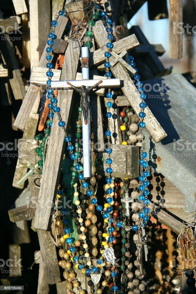 Crosses with beads stock photo