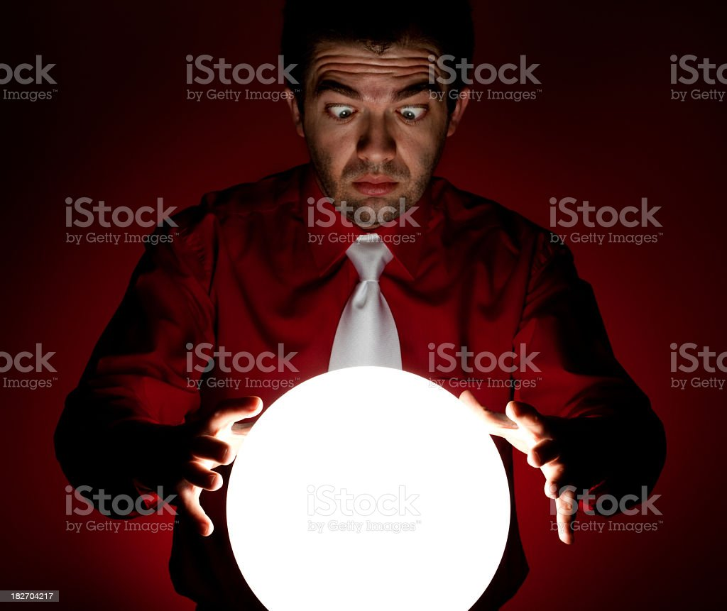 cross-eyed look into the crystal ball royalty-free stock photo