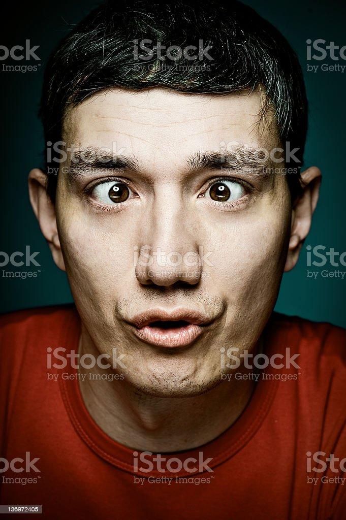 Cross-eyed man stock photo