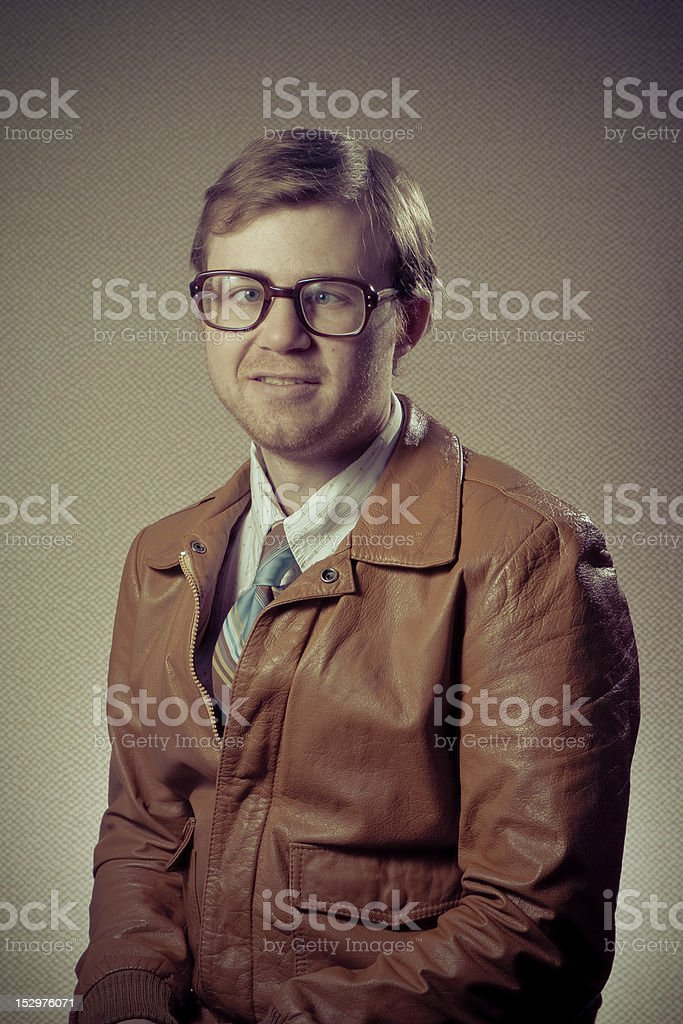 Cross-eyed Nerd Man stock photo