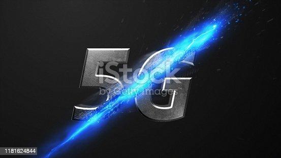 istock Crossfire Effects 5G on dark backgorund, 3D Render 1181624844