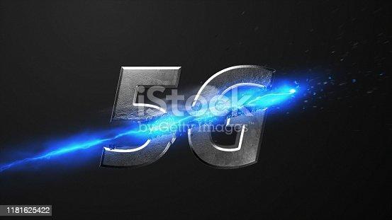 istock Crossfire Effects 5G on dark backgorund, 3D Render 1181625422