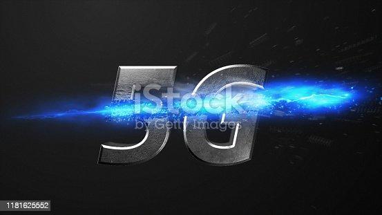 istock Crossfire Effects 5G on dark backgorund, 3D Render 1181625552