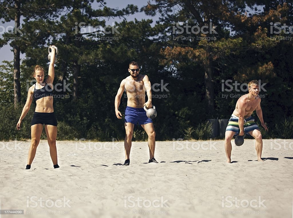 Crossfitting on the Beach royalty-free stock photo