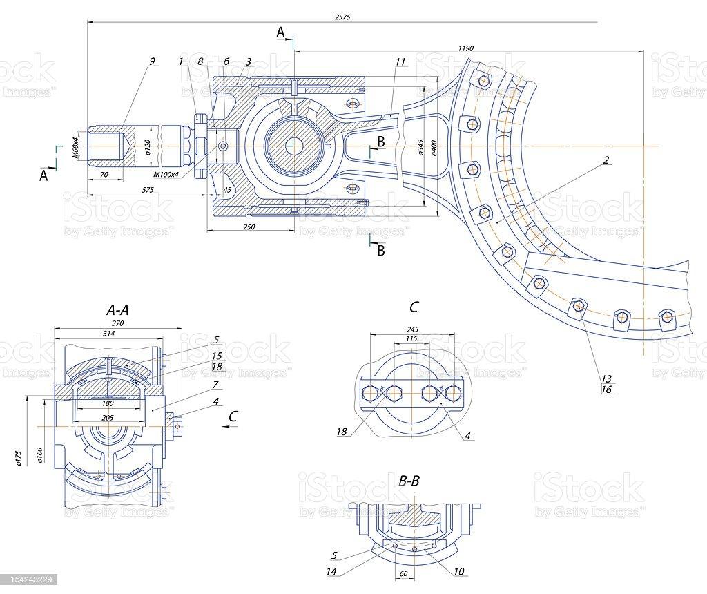 Crosshead displacement pump mechanism royalty-free stock photo