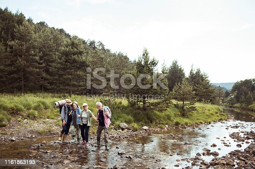 Close up of a group of seniors hiking over a stream of water