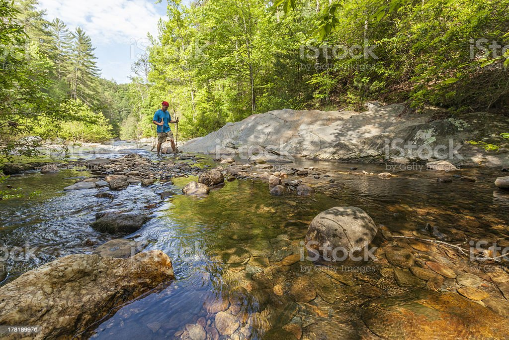 Crossing a Stream stock photo