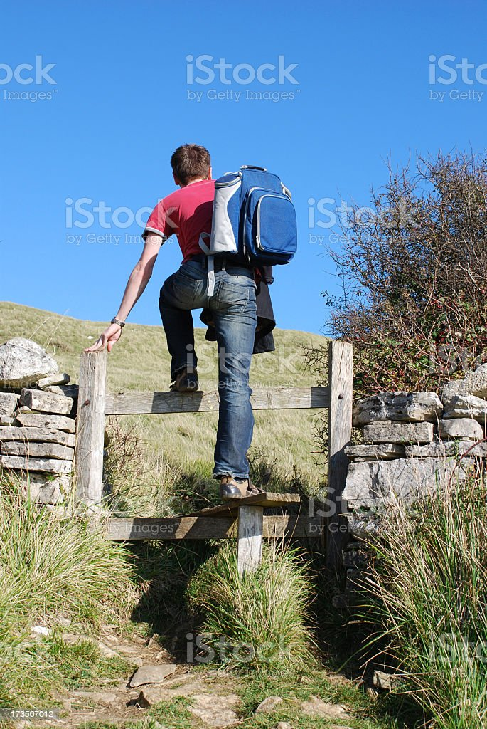 Crossing a Stile stock photo
