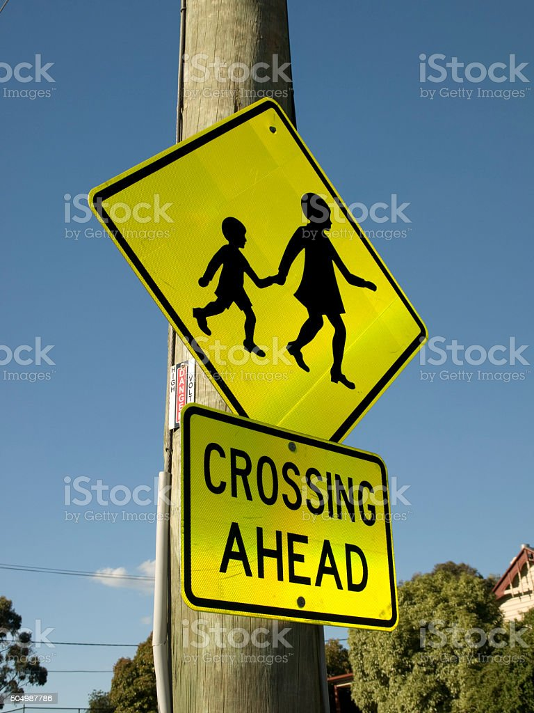 Crossing Ahead Sign stock photo