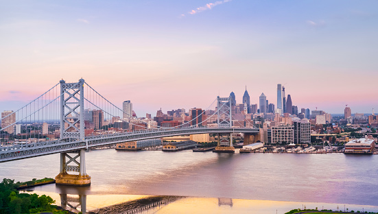 Aerial shot of the Benjamin Franklin Bridge, connecting Camden, NJ and Philadelphia, PA. Shot in USA.