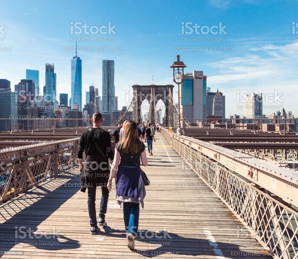 Crossing Brooklyn Bridge zu Fuß – Foto