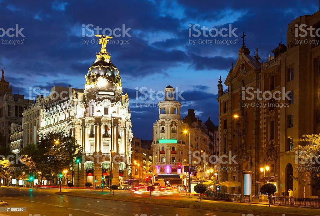 Crossing  Calle de Alcala and Gran Via in night. Madrid stock photo