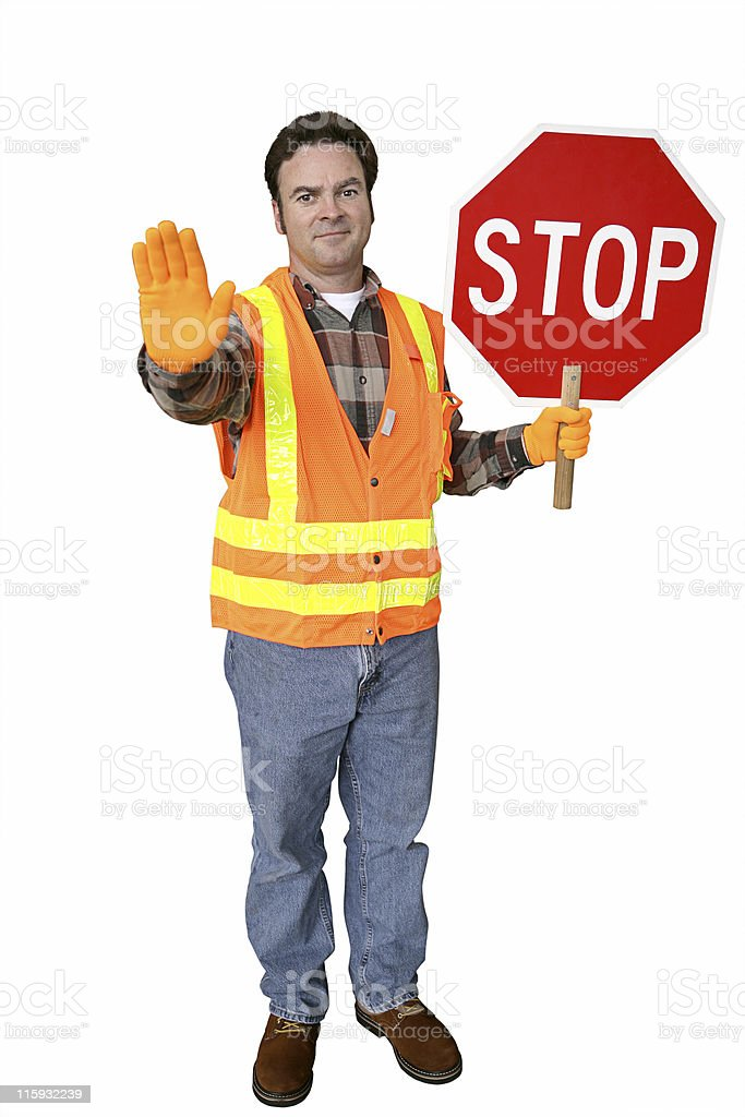 Crossing Guard Full Body Isolated stock photo