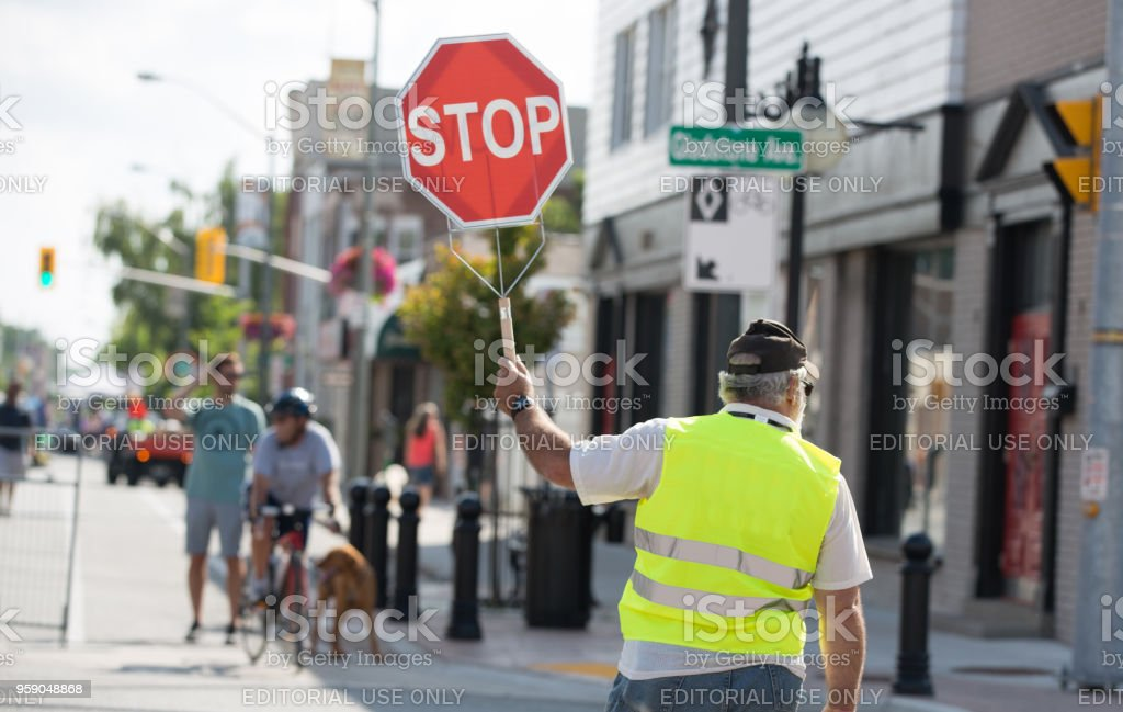 Crossing Guard - Open Streets, Windsor, Ontario stock photo