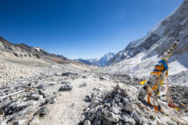 Crossing Larkya La Pass on the Manaslu circuit in Nepal stock photo