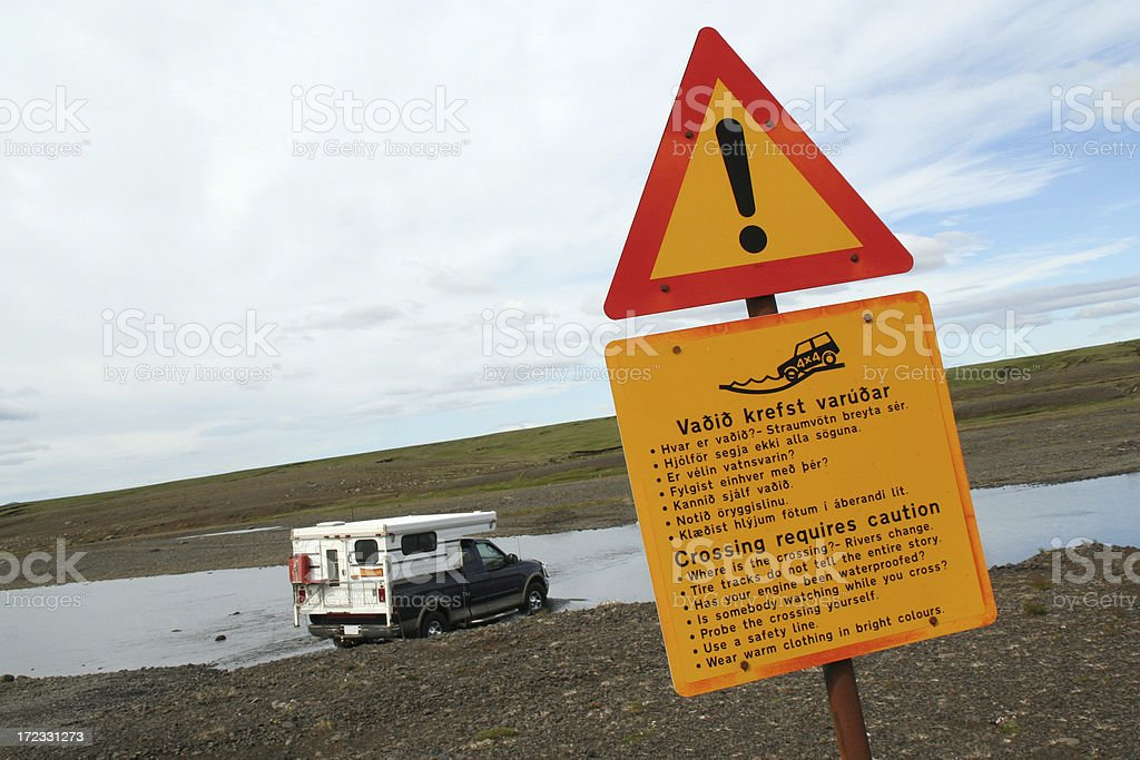 Crossing river - Iceland stock photo