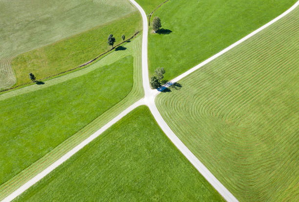 Crossing Roads, Aerial with Farm Land stock photo