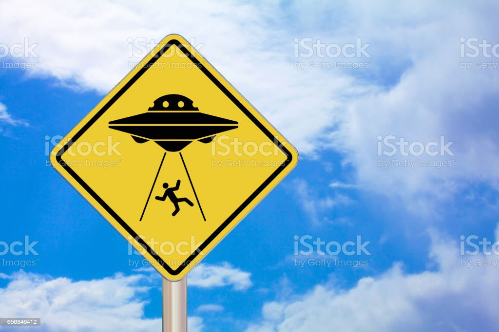 Crossing Sign - Alien Abduction stock photo