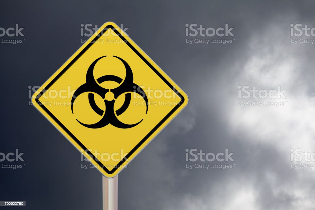 Sinal de passagem - Biohazard - foto de acervo