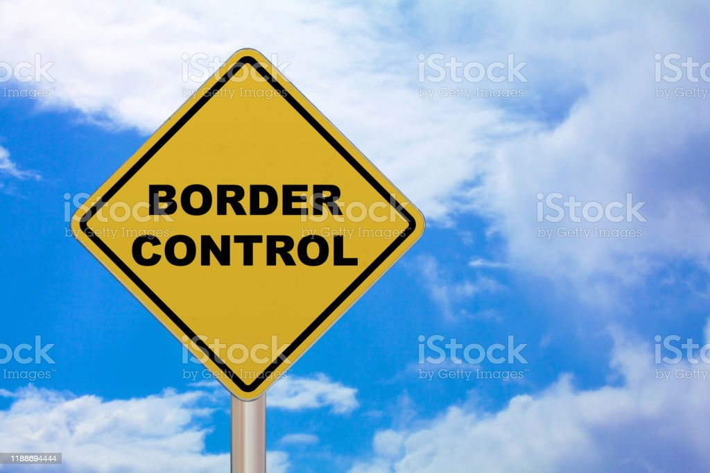 Crossing sign - Border control - Royalty-free Black Color Stock Photo