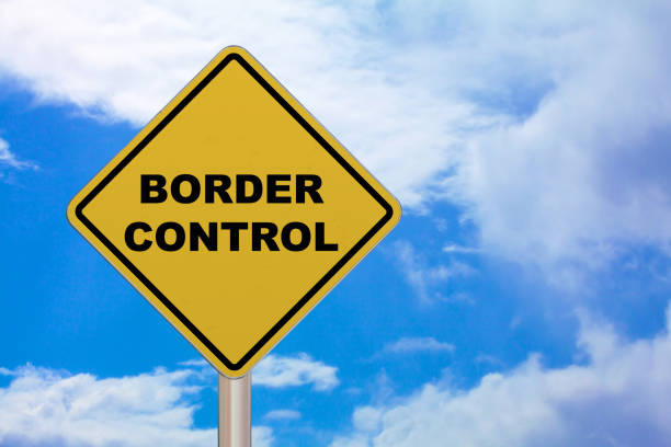 Crossing sign - Border control stock photo