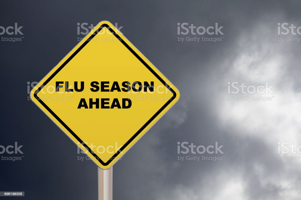 Crossing Sign - Flu season Ahead stock photo