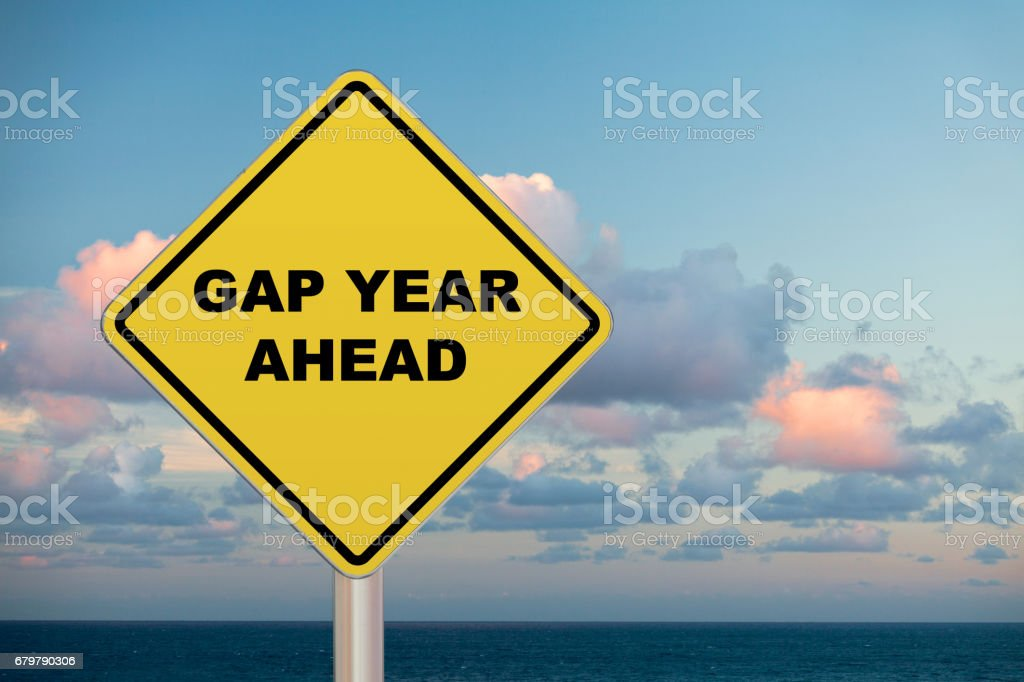 Crossing Sign - Gap year Ahead stock photo