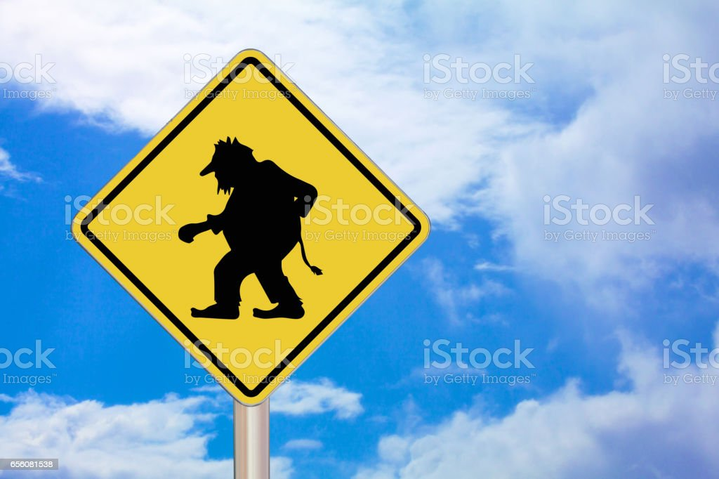 Crossing Sign - Troll stock photo