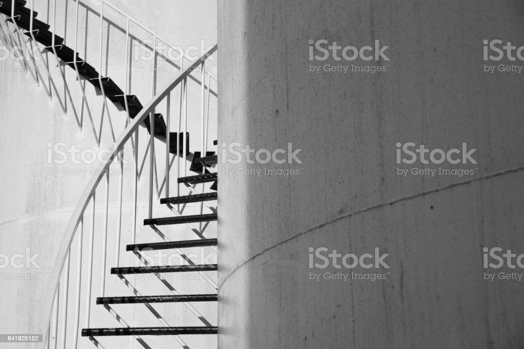 Crossing staircases tank stock photo
