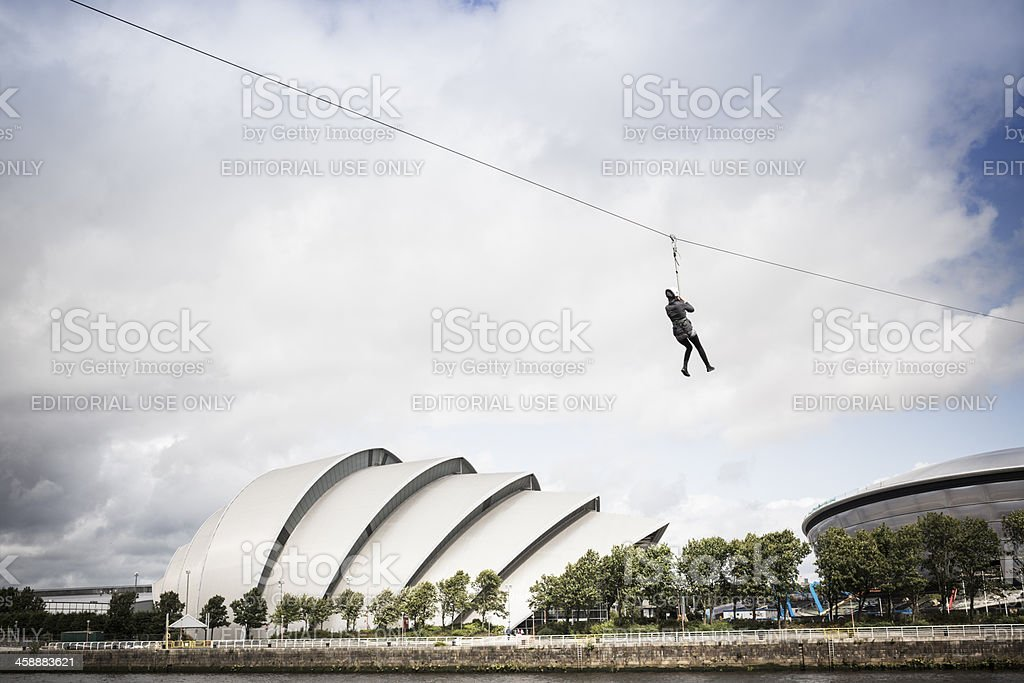 Crossing the Clyde By Zipline stock photo