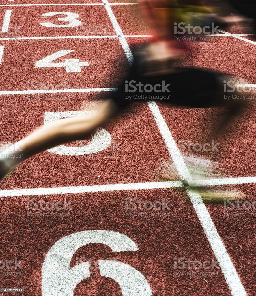 crossing the finish line as winner royalty-free stock photo