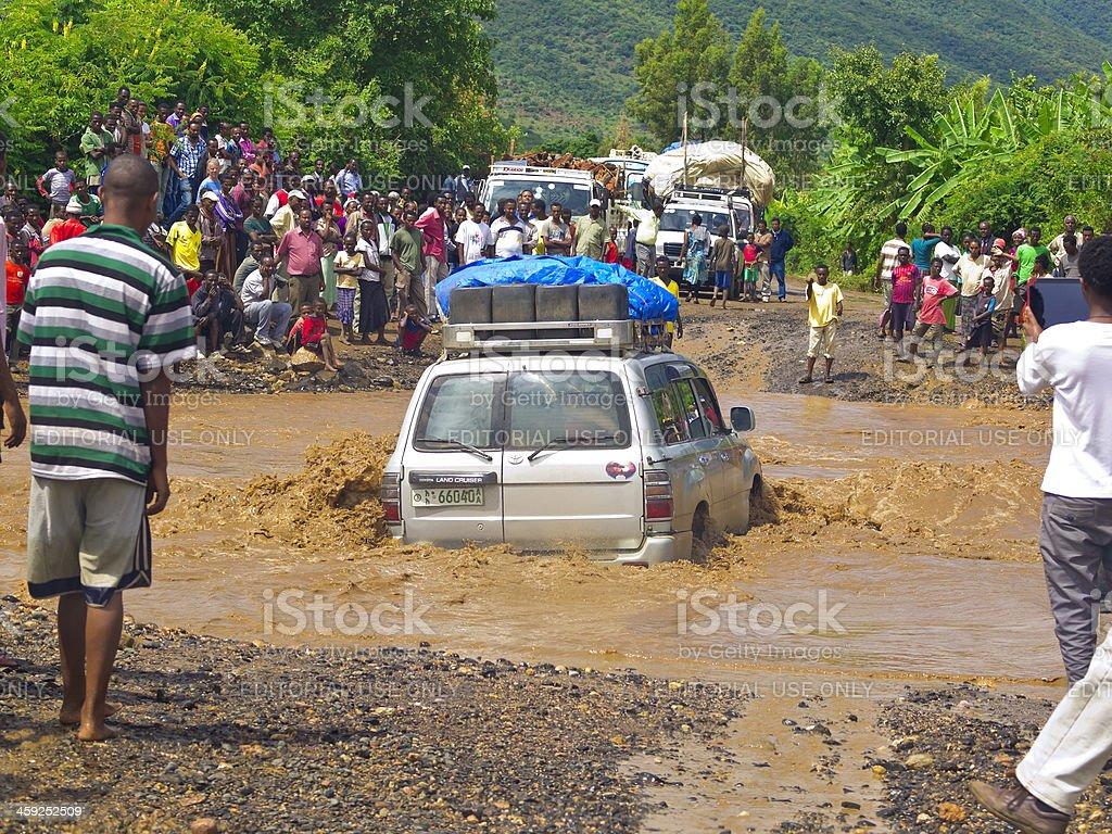 Crossing the flood stock photo