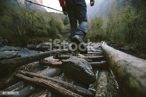 istock Crossing the footbridge in Himalayas 627929572