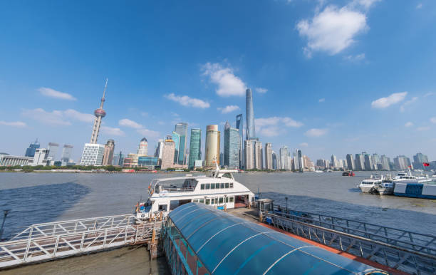 Crossing the Huangpu River in Shanghai stock photo