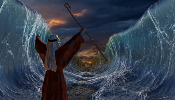 Crossing the Red Sea with Moses stock photo