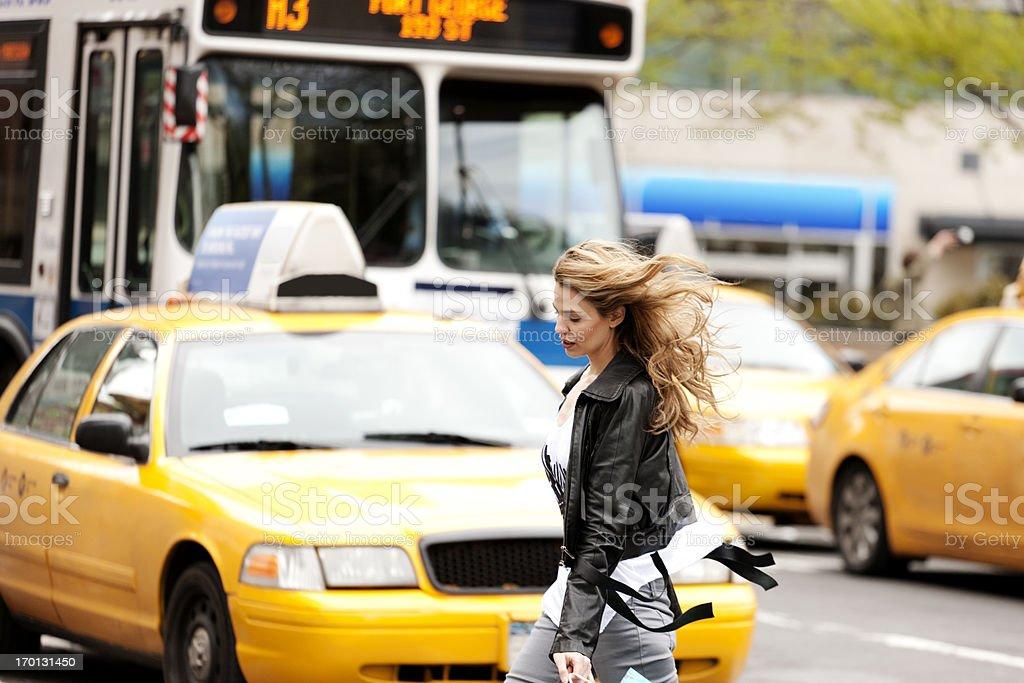 Crossing the road, New York City stock photo