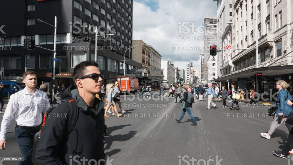 Crossing the Street in Auckland stock photo