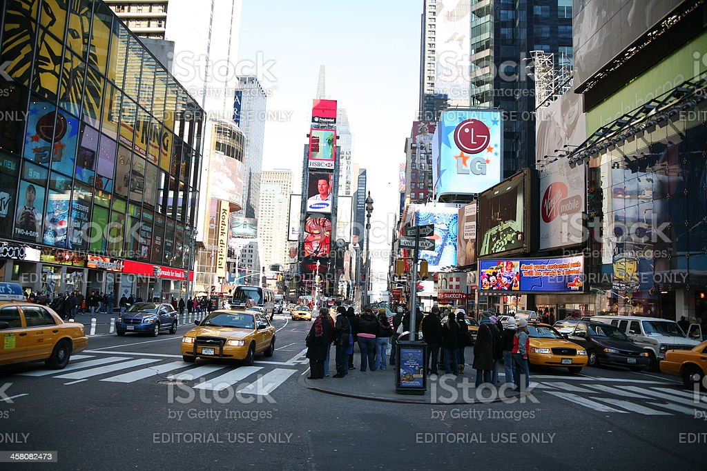 Crossing the street in Times Square royalty-free stock photo